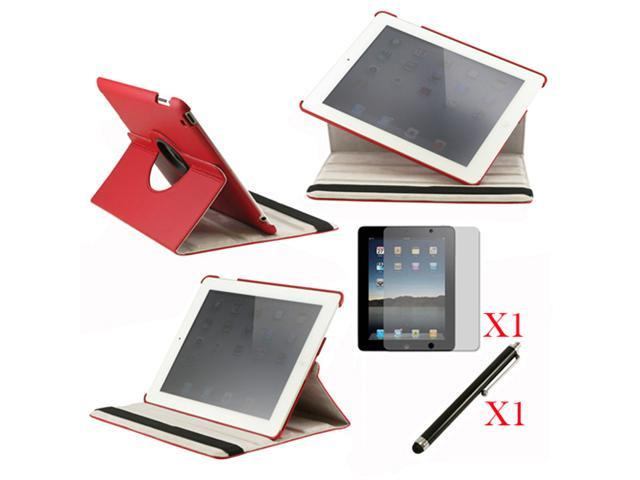 360 Degree Rotating Red Leather case with smart Cover function for iPad 2, The New iPad 3 and iPad 4 with retina desplay + Screen Protector + Stylus