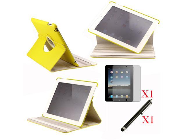 360 Degree Rotating Yellow Leather case with smart Cover function for iPad 2, The New iPad 3 and iPad 4 with retina desplay ... - OEM