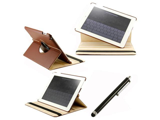360 Degree Rotating Duel Layer Brown Leather case with smart Cover function for The New iPad 3 3rd iPad 2 Gen + Stylus Pen