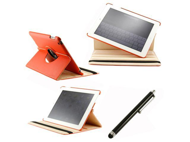 360 Degree Rotating Duel Layer Orange Leather case with smart Cover function for The New iPad 3 3rd iPad 2 Gen + Stylus Pen