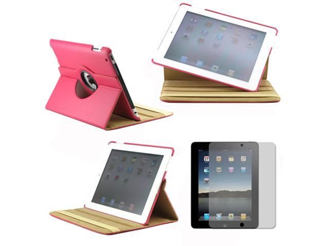 360 Degree Rotating Duel Layer Hot Pink Leather case with smart Cover function for The New iPad 3 3rd iPad 2 Gen + Screen Protector