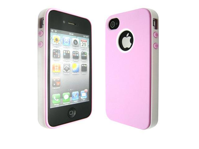 Pink & White HyBrid PC TPU Back Case Cover for iPhone 4 4G 4S