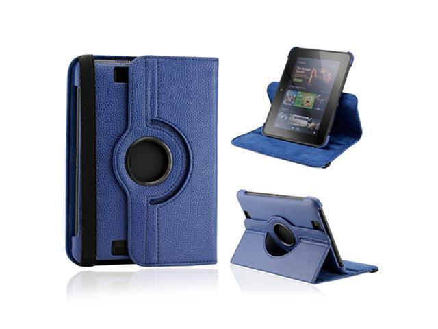 """Dark Blue 360 Degree Rotating Leather Case Cover with Swivel Stand for 7"""" Amazon Kindle Fire HD"""