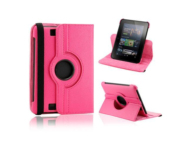 """Hot Pink 360 Degree Rotating Leather Case Cover with Swivel Stand for 7"""" Amazon Kindle Fire HD"""