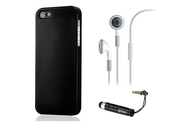 NEW Black Slim TPU GEL HARD CASE COVER Skin for iPhone 5 w/ Earphone Stylus