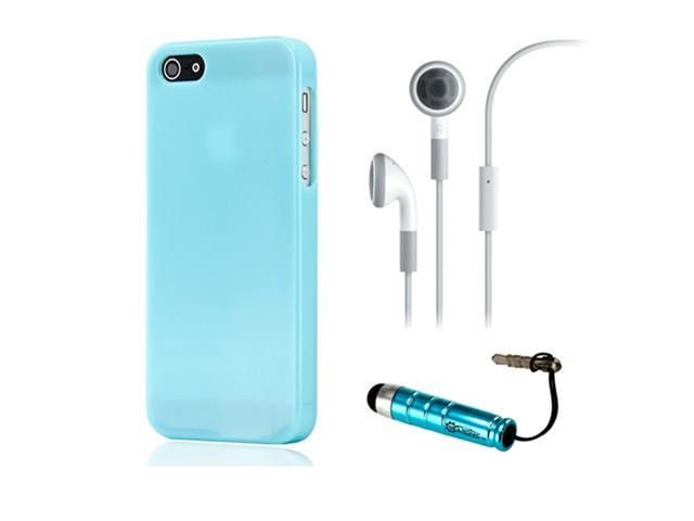 NEW Blue Slim TPU GEL HARD CASE COVER Skin for iPhone 5 w/ Earphone Stylus