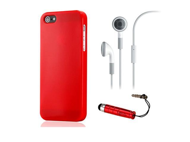 NEW Red Slim TPU GEL HARD CASE COVER Skin for iPhone 5 w/ Earphone Stylus