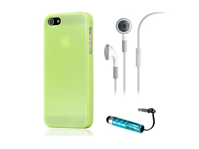 NEW Green Slim TPU GEL HARD CASE COVER Skin for iPhone 5 w/ Earphone Stylus