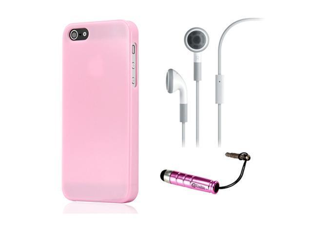 NEW Pink Slim TPU GEL HARD CASE COVER Skin for iPhone 5 w/ Earphone Stylus