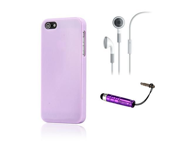 NEW Purple Slim TPU GEL HARD CASE COVER Skin for iPhone 5 w/ Earphone Stylus