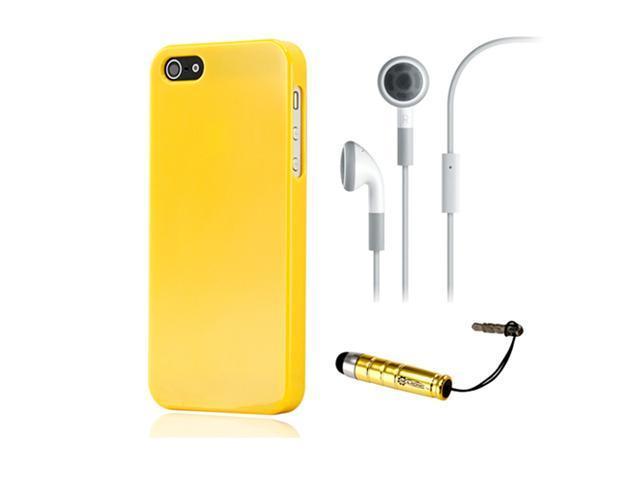 NEW Yellow Slim TPU GEL HARD CASE COVER Skin for iPhone 5 w/ Earphone Stylus