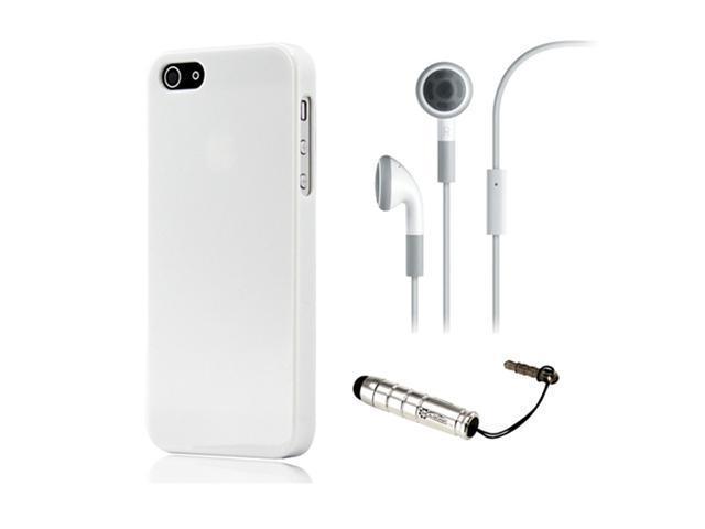 NEW White Slim TPU GEL HARD CASE COVER Skin for iPhone 5 w/ Earphone Stylus