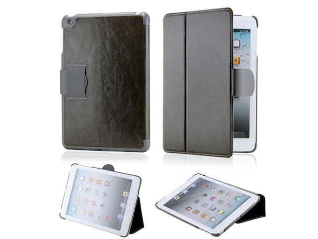 Premium Dark Gray Glossy Microfiber Leather Slim Hard PC Case Cover with Belt Closure for iPad Mini - OEM