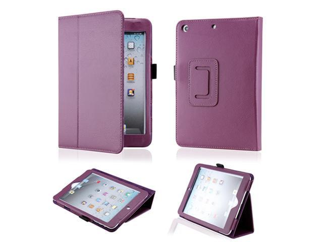 Purple Magnetic PU Leather Folio Stand Case Cover with Stylus Holder for iPad Mini and iPad Mini with Retina Display