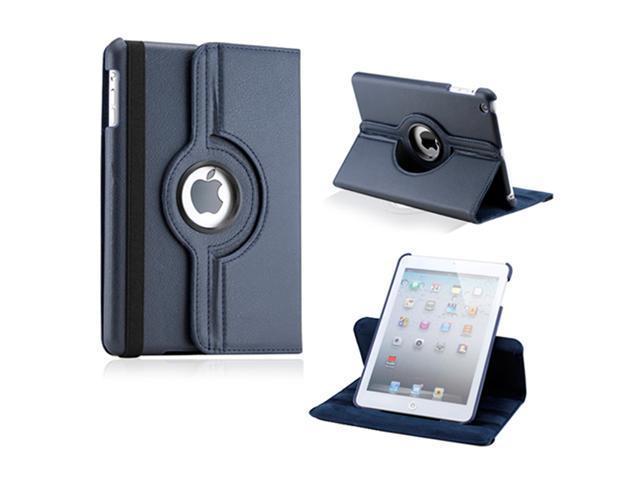 iPad Mini and 2013 iPad Mini with Retina Display 360 Degree Rotating Dark Blue PU Leather Cover Case with Swivel Stand - OEM