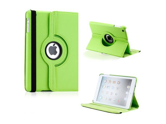iPad Mini and 2013 iPad Mini with Retina Display 360 Degree Rotating Green PU Leather Cover Case with Swivel Stand - OEM