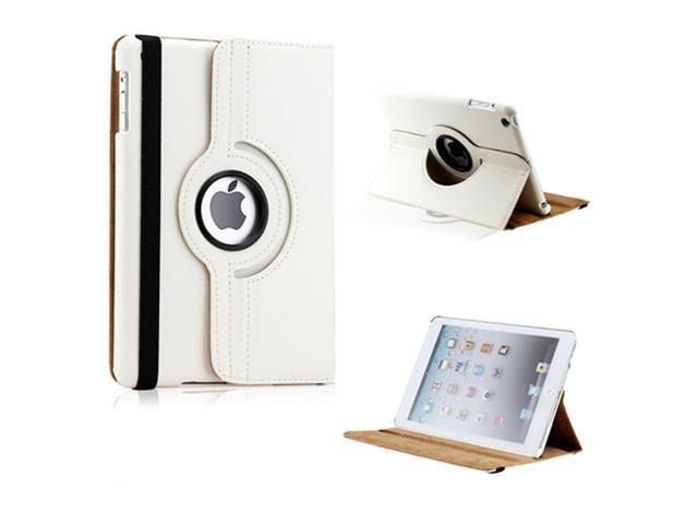 iPad Mini and 2013 iPad Mini with Retina Display 360 Degree Rotating White PU Leather Cover Case with Swivel Stand - OEM