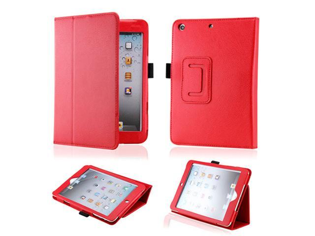 Red Magnetic PU Leather Folio Stand Case Smart Cover Stylus Holder for iPad Mini and 2013 iPad Mini with Retina Display - OEM
