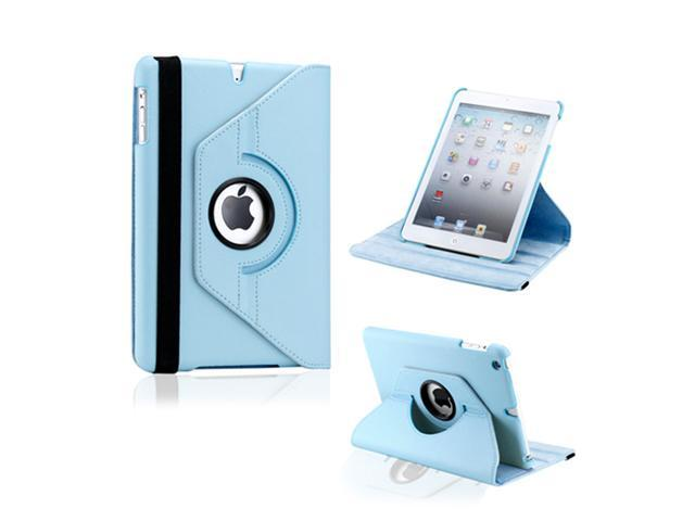 Light Blue 360 Degree Rotating PU Leather Case Smart Cover Swivel Stand for iPad Mini and 2013 iPad Mini with Retina Display - OEM