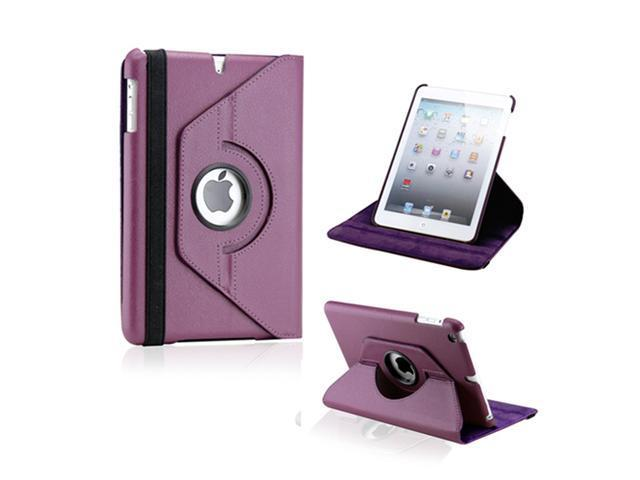 Purple 360 Degree Rotating PU Leather Case Smart Cover Swivel Stand for iPad Mini and 2013 iPad Mini with Retina Display - OEM
