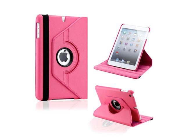 Hot Pink 360 Degree Rotating PU Leather Case Smart Cover Swivel Stand for iPad Mini and 2013 iPad Mini with Retina Display - OEM