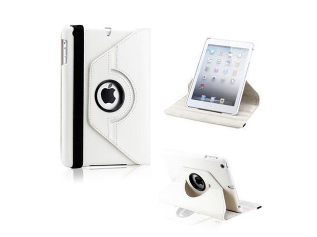 White 360 Degree Rotating PU Leather Case Smart Cover Swivel Stand for iPad Mini and 2013 iPad Mini with Retina Display - OEM