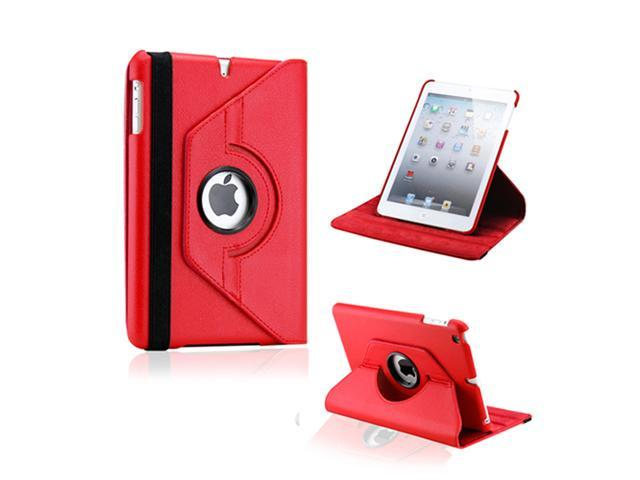 Red 360 Degree Rotating PU Leather Case Smart Cover Swivel Stand for iPad Mini and 2013 iPad Mini with Retina Display