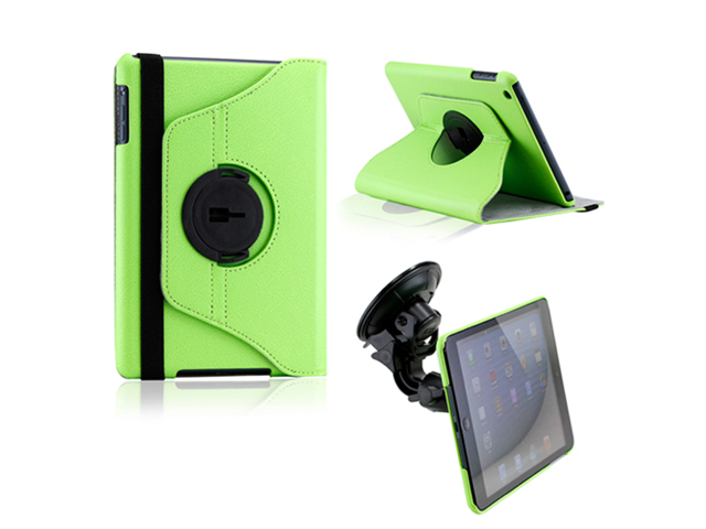 Green Duel Function 360 Degree Rotating PU Leather Case Cover with Car Mount for iPad Mini - OEM