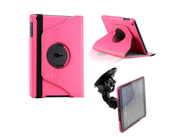 Hot Pink Duel Function 360 Degree Rotating PU Leather Case Cover with Car Mount for iPad Mini