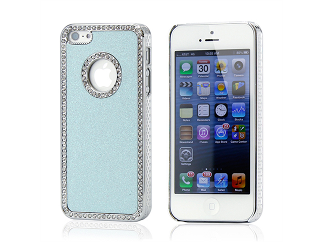 Tiffany Blue Luxury Bling Glitter Chrome Crystal Rhinestones Hard Back Case for iPhone 5 + Stylus Pen and Screen Protector