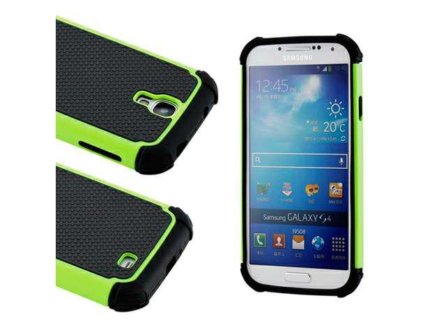 Black Green 2 Piece Hybrid Rugged Hard PC Soft Silicone Back Case Cover for Samsung Galaxy S4 i9500