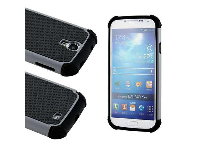 Black Gray 2 Piece Hybrid Rugged Hard PC Soft Silicone Back Case Cover for Samsung Galaxy S4 i9500
