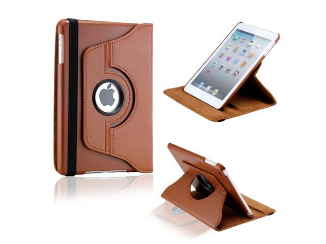Brown 360 Degree Rotating PU Leather Case Smart Cover Swivel Stand for iPad Mini and 2013 iPad Mini with Retina Display - OEM