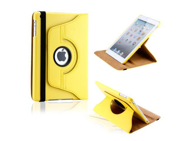 Yellow 360 Degree Rotating PU Leather Case Smart Cover Swivel Stand for iPad Mini and 2013 iPad Mini with Retina Display