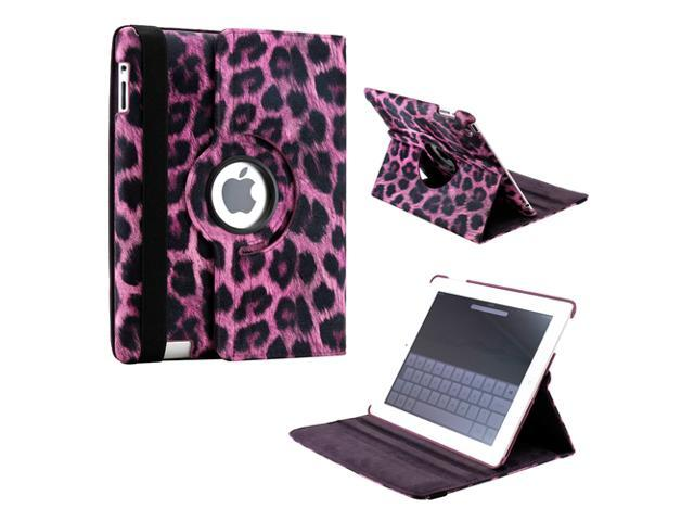 Purple Leopard Pattern 360 Degree Rotating PU Leather Case Smart Cover Stand for iPad 2 3 4 Gen - OEM