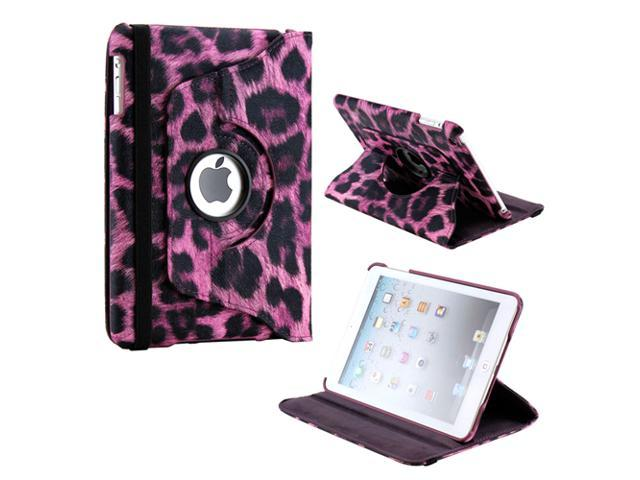 Purple Leopard Pattern 360 Degree Rotating PU Leather Case Smart Cover Swivel Stand for iPad Mini and 2013 iPad Mini with ... - OEM