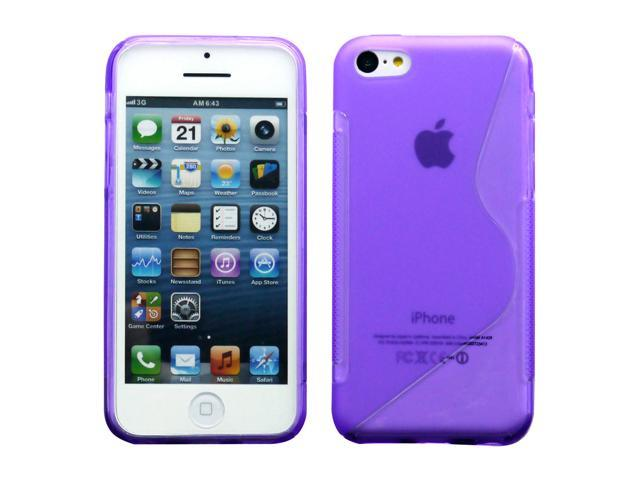 Purple S Shape 2 Tone Soft TPU Gel Case Back Cover Skin compatible with Apple® iPhone® 5C