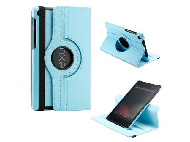 Light Blue 360 Degree Rotating Sleep Wake PU Leather Case Cover Swivel Stand for New 2013 Nexus 7 2nd Generation - OEM