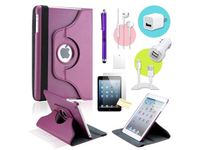 Gearonic ™ Purple 360 Degree Rotating PU Leather Case Smart Cover Swivel Stand for iPad Mini/ Mini 2 Retina Display - OEM