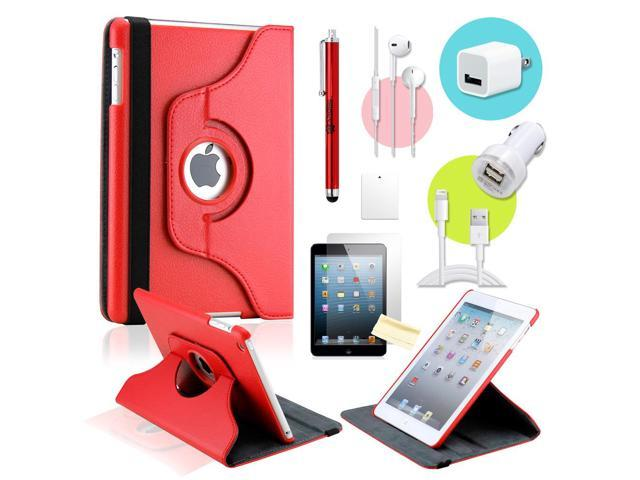 Gearonic ™ Red 360 Degree Rotating PU Leather Case Smart Cover Swivel Stand for iPad Mini/ Mini 2 Retina Display - OEM