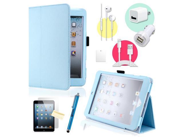 Gearonic ™ Light Blue Magnetic PU Leather Folio Stand Case Smart Cover Stylus Holder for iPad Mini / Mini 2 retina display - OEM