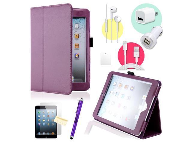 Gearonic ™ Purple Magnetic PU Leather Folio Stand Case Smart Cover Stylus Holder for iPad Mini / Mini 2 retina display - OEM