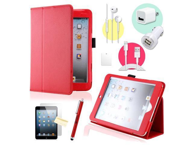 Gearonic ™ Red Magnetic PU Leather Folio Stand Case Smart Cover Stylus Holder for iPad Mini / Mini 2 retina display - OEM