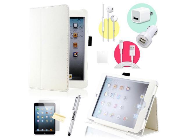 Gearonic ™ White Magnetic PU Leather Folio Stand Case Smart Cover Stylus Holder for iPad Mini / Mini 2 retina display - OEM