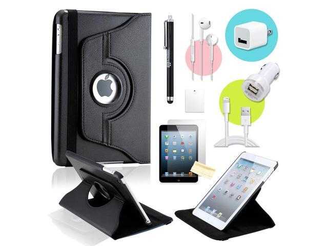 Gearonic ™ Black 360 Degree Rotating PU Leather Case Smart Cover Swivel Stand for iPad Mini/ Mini 2 Retina Display - OEM