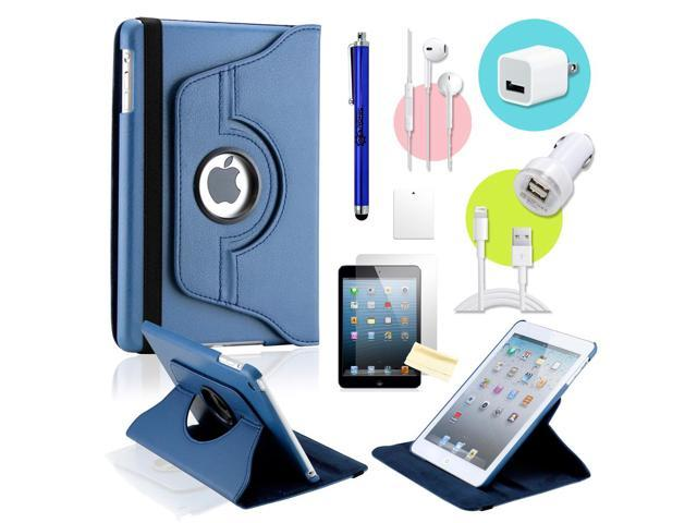 Gearonic ™ Dark Blue 360 Degree Rotating PU Leather Case Smart Cover Swivel Stand for iPad Mini/ Mini 2 Retina Display - OEM