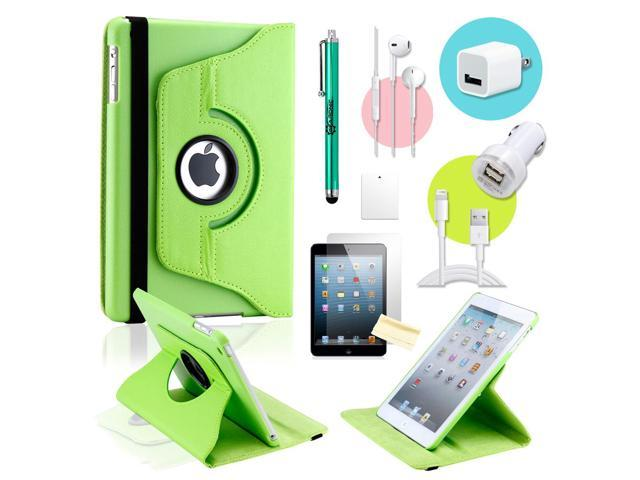 Gearonic ™ Green 360 Degree Rotating PU Leather Case Smart Cover Swivel Stand for iPad Mini/ Mini 2 Retina Display - OEM