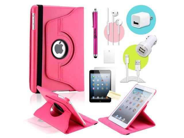 Gearonic ™ Hot pink 360 Degree Rotating PU Leather Case Smart Cover Swivel Stand for iPad Mini/ Mini 2 Retina Display - OEM