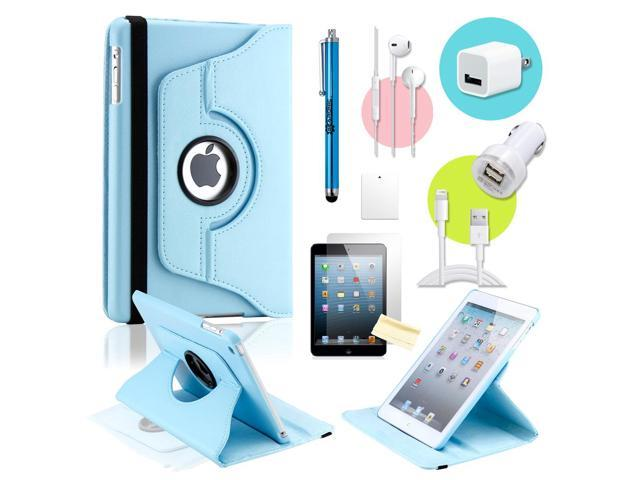 Gearonic ™ Light blue 360 Degree Rotating PU Leather Case Smart Cover Swivel Stand for iPad Mini/ Mini 2 Retina Display - OEM