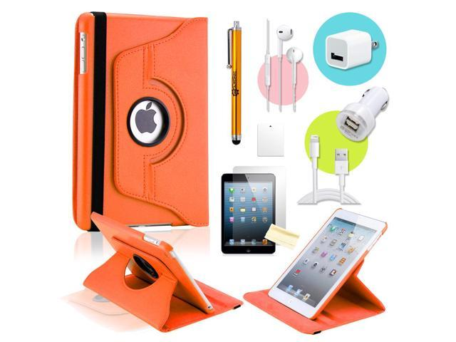 Gearonic ™ Orange 360 Degree Rotating PU Leather Case Smart Cover Swivel Stand for iPad Mini/ Mini 2 Retina Display - OEM